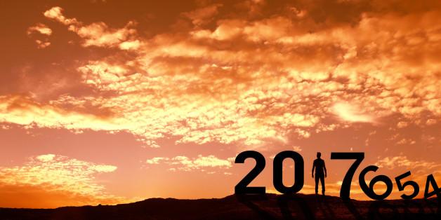 Man Enjoying and 2017 years while celebrating new year