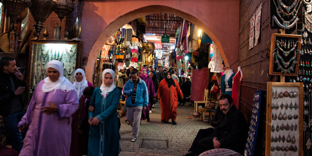 THE MEDINA, MARRAKECH, MOROCCO - 2014/01/05: The souk is full of souvenirs shops and people. (Photo by Raquel Maria Carbonell Pagola/LightRocket via Getty Images)