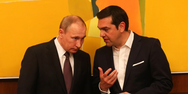 ATHENS, GREECE - MAY 27: Russian President Vladimir Putin (L) and Greek Prime Minister Alexis Tsipras (R) meet in Athens, Greece on May 27, 2016. (Photo by Pool / Orestis Panagiotou/Anadolu Agency/Getty Images)
