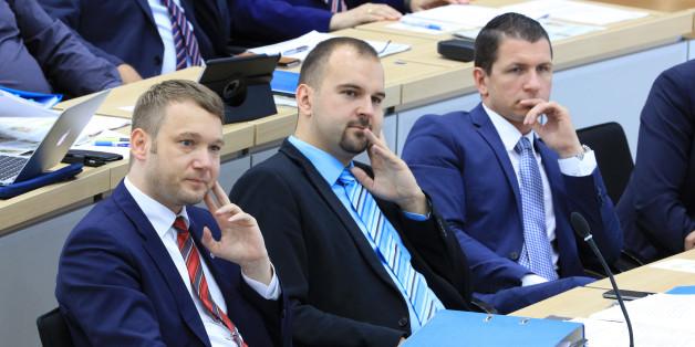AfD-Politiker im Landtags von Sachsen-Anhalt. Ganz rechts Matthias Büttner
