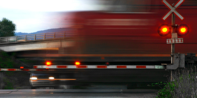 Speeding Train at Railroad Crossing, Motion Blur