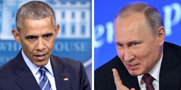 (COMBO)This combination of file photos shows US President Barack Obama speaking at the White House in Washington, DC on December 16, 2016 and Vladimir Putin speaking in Moscow on December 23, 2016.The US on December 29, 2016, fired back at Moscow over its meddling in the presidential election, announcing a series of tough sanctions against intelligence agencies, expulsions of agents and shutting down of Russian compounds on US soil. 'I have ordered a number of actions in response to the Russian