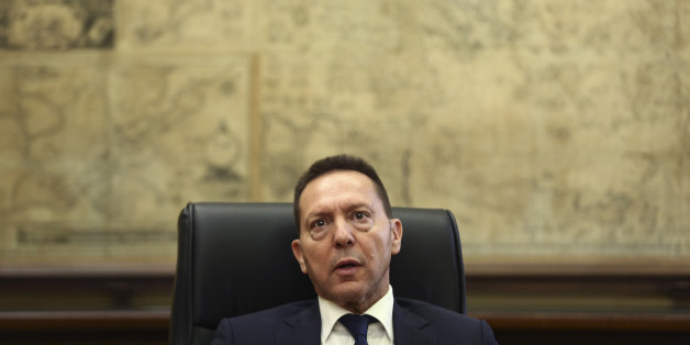 Yannis Stournaras, governor of the Bank of Greece, speaks during an interview at the bank's headquarters in Athens, Greece, on Friday, Nov. 25, 2016. It's 'far too early' to talk about winding down European Central Bank bond purchases, Stournaras said. Photographer: Yorgos Karahalis /Bloomberg via Getty Images