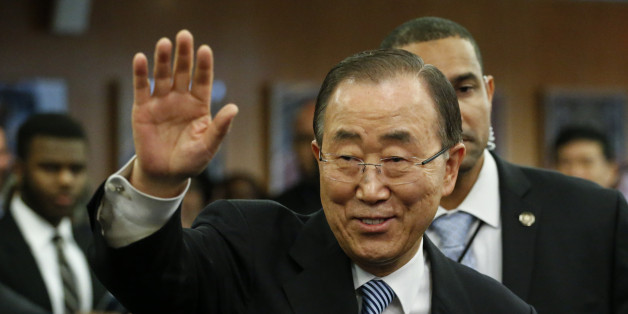 UN Secretary-General Ban Ki-moon waves as he departs from UN Headquarters on December 30, 2016, in New York.