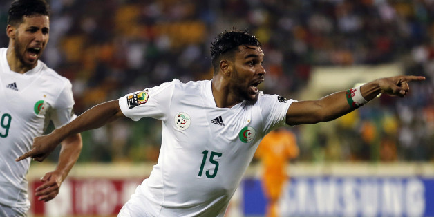 Algeria's El Arabi Soudani celebrates his goal against Ivory Coast during their 2015 African Cup of Nations quarter-final soccer match in Malabo February 1, 2015. REUTERS/Amr Abdallah Dalsh (EQUATORIAL GUINEA - Tags: SPORT SOCCER)