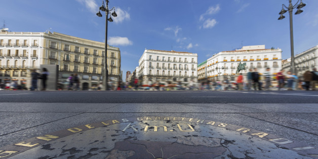 Origin of Spanish roads on Puerta del Sol, Madrid