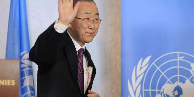 U.N. Secretary-General Ban Ki-moon attends the Cyprus reunification talks in the Swiss mountain resort of Mont Pelerin, Switzerland November 7, 2016. REUTERS/Pierre Albouy
