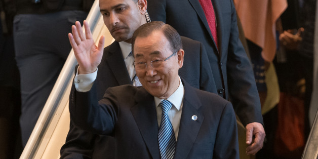 UN HEADQUARTERS, NEW YORK, NY, UNITED STATES - 2016/12/30: United Nations Secretary-General Ban Ki-moon is seen in the Delegates Exit of UN Headquarters in New York, NY as he departs on the final work day of his 10-year tenure. (Photo by Albin Lohr-Jones/Pacific Press/LightRocket via Getty Images)