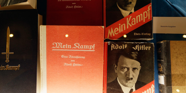 MUNICH, GERMANY - JANUARY 08:  Historic copies of Adolf Hitler's 'Mein Kampf' are displayed during the book launch of a new critical edition at the Institut fuer Zeitgeschichte (Institute for Contemporary History) on January 8, 2016 in Munich, Germany. The new edition, which augments Hitler's original text with critical analysis, is the first new publication of the book in Germany since World War II. The state of Bavaria held the copyright to the book and prohibited publication, though the copyr