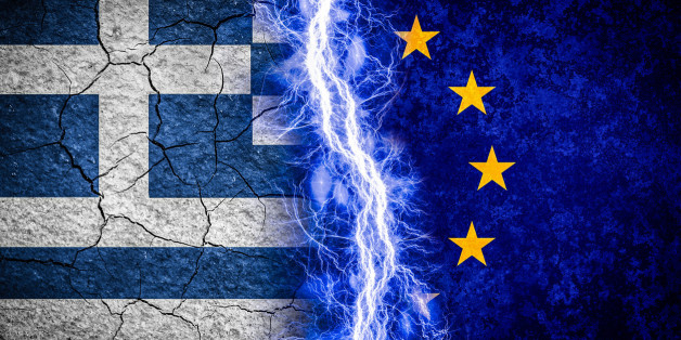 Greek crisis concept illustration. Greek and Eu flags divided by lightning