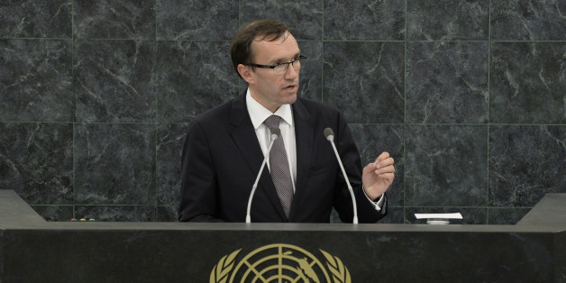 Norwegian Minister of Foreign Affairs Espen Barth Eide speaks at the 68th United Nations General Assembly in New York, September 25, 2013.    REUTERS/Andrew Burton/Pool   (UNITED STATES  - Tags: POLITICS)