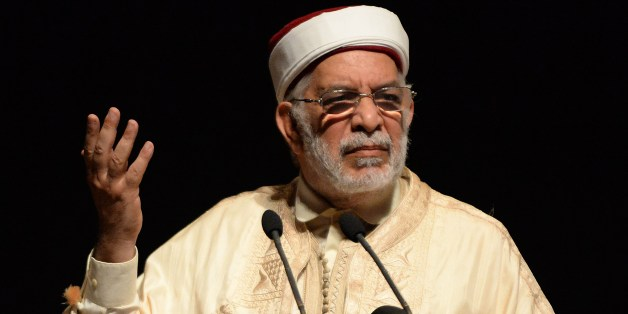 Tunisian 'Ennahdha' co-founder Abdelfattah Mourou gives a speech during the fifth annual meeting of the Moroccan movement for Unification and Reform (known as Attawhid Wal'Islah in Arabic and MUR in French) on August 9, 2014 at the Mohammed V theatre in the capital Rabat. The meeting, with this year's theme being 'Reforms, cooperation and responsability', gathers political local and foreign representatives, coming notably from Sudan, Tunisia, Algeria and also from Europe.  AFP PHOTO / FADEL SENN