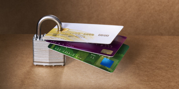 Credit cards attached to padlock