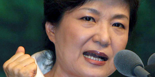 Park Geun-Hye, former chairwoman of the main opposition Grand National Party (GNP) and a daughter of former military dictator Park Chung-Hee, who took power in a military coup in 1961 and ruled until his assassination in 1979, speaks at a campaign in Seoul on 17 August 2007. South Korea's main opposition Grand National Party holds a primary 19 and 20 August to select its candidate for the December 19 presidential election. The conservative party's convention is effectively a showdown between its