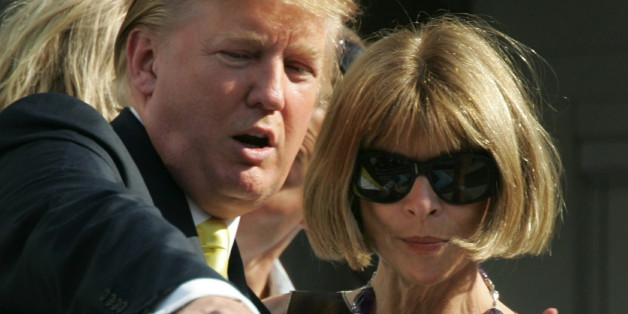 Businessman Donald Trump (L) and Anna Wintour editor in chief of Vogue attend the men's final at the U.S. Open tennis tournament in Flushing Meadows, New York, September 11, 2005.