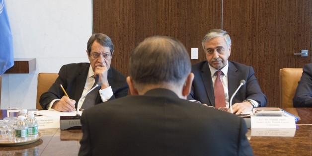 NEW YORK, USA - SEPTEMBER 25: Turkish Republic of Northern Cyprus President Mustafa Akinci (R), United Nations Secretary General Ban Ki-moon (C) and Greek Cypriot leader Nikos Anastasiadis (L) are seen during their meeting in New York on September 25, 2016. (Photo by UN Photo / Isaac Billy/Anadolu Agency/Getty Images)