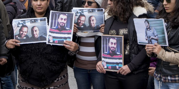 In January 9th, 2015: approximately 300 people demonstrated on Friday in Tunis for the Tunisian journalists Sofi��ne Chourabi and Nadhir Ktari, whom the Libyan branch of the organization Islamic State ( EI) asserted having executed. ' We are all Sofi��ne, we are all Nadhir ', proclaimed signs brandished by the demonstrators, for the greater part young journalists among whom many refused to believe the announcement in the absence of official confirmation. In a communiqu�� published on Thursday on Ji (Photo by Nicolas Fauqu��/Corbis via Getty Images)