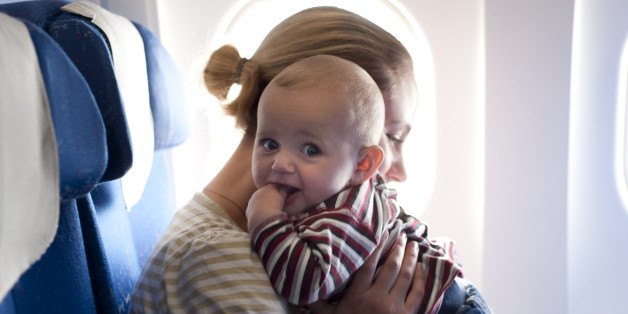 Mother and child on the plane