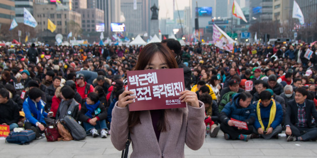 Seoul, South Korea - December 3, 2016: Hundreds of thousands of people gathered at a rally to call for the impeachment of President Park Geun-hye.