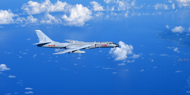 GUANGZHOU, Sept. 13, 2016 -- A Chinese Air Force H-6K bomber flies to the West Pacific, via the Bashi Strait, for a routine combat simulation drill, Sept. 12, 2016. The Chinese Air Force on Monday sent multiple aircraft models, including H-6K bombers, Su-30 fighters, and air tankers, for the drill. The fleet conducted reconnaissance and early warning, sea surface cruising, inflight refueling, and achieved all the drill's targets. (Xinhua/Guo Wei via Getty Images)