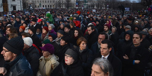 VIENNA, AUSTRIA - JANUARY 11: Thousands people stage a protest against gun attack on French satirical Magazine 'Charlie Hebdo' in Paris, on January 11, 2015, in Vienna, Austria. (Photo by Hasan Tosun/Anadolu Agency/Getty Images)