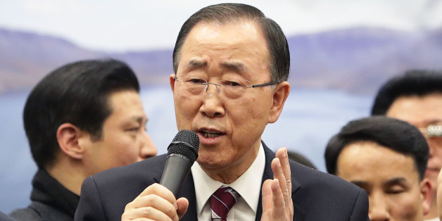 INCHEON, SOUTH KOREA - JANUARY 12:  Former U.N. Secretary General Ban Ki-moon speaks to the media after he arrived at Incheon International Airport on January 12, 2017 in Incheon, South Korea. Former United Nations Secretary General Ban Ki-moon, succeeded by former Portuguese Prime Minister Antonio Guterres on 1 January 2017, returned home amid the increased attention. The U.S. prosecutors charged Ban's brother and nephew with conspiracy to bribe a government official on January 10, 2017 while B