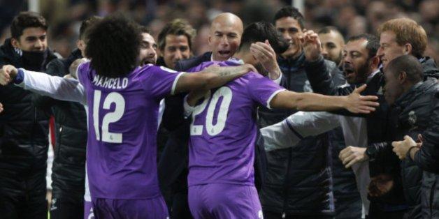 Zidane et ses joueurs du Real Madrid ce jeudi 12 janvier.