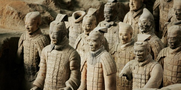 CHINA - NOVEMBER 29:  Emperor Qin Shi Huang'S Terra Cotta Soldiers In Xian, China On November 29, 2007 - The Terra Cotta Warriors and Horses are the most significant archeological excavations of the 20th century - Work is ongoing at this site, which is around 1.5 kilometers east of Emperor Qin Shi Huang's Mausoleum, Lintong County, Shaanxi Province - Upon ascending the throne at the age of 13 (in 246 BC), Qin Shi Huang, later the first Emperor of all China, had begun to work for his mausoleum -