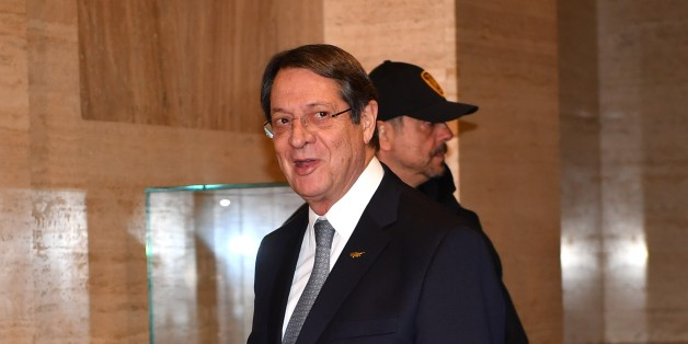 GENEVA, SWITZERLAND - JANUARY 12: Greek Cypriot leader Nicos Anastasiades arrives to attend the fourth day of Cyprus talks at United Nations Office in Geneva, Switzerland on January 12, 2017. Turkish Cypriot leader Mustafa Akinci and Greek Cypriot leader Nicos Anastasiades met for several days of closed-door meetings in Switzerland under the auspices of the UNs Cyprus envoy, Espen Barth Eide.   (Photo by Mustafa Yalcin/Anadolu Agency/Getty Images)