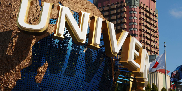 JAPAN - JANUARY 14:  A model of the Universal Studios logo is displayed at the entrance to the theme park in Osaka, Japan, on Wednesday, Jan. 14, 2009. Goldman Sachs Group Inc. will today announce an offer for the rest of USJ Co., operator of the Universal Studios Japan theme park, three people familiar with the matter said.  (Photo by Shinobu Ikazaki/Bloomberg via Getty Images)