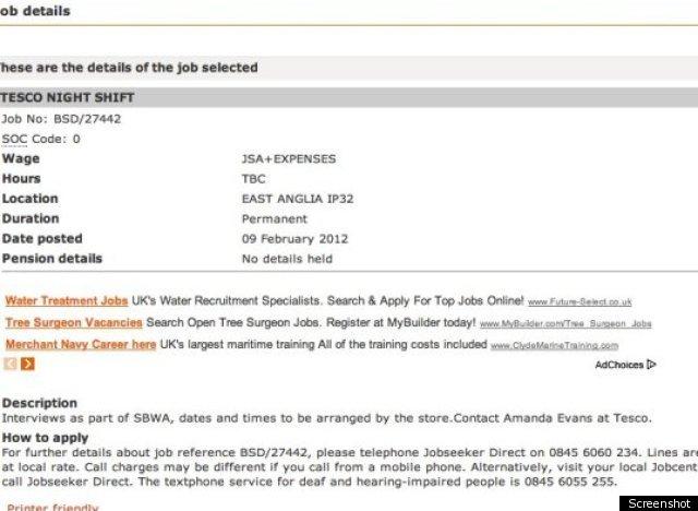 tesco job advert offering  u0026 39 jsa plus benefits u0026 39  causes