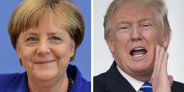 (COMBO) This combination of file photos created on January 16, 2017 shows US President-elect Donald Trump (R, November 19, 2016 in Bedminster, New Jersey) and German Chancellor Angela Merkel (July 28, 2016 in Berlin).