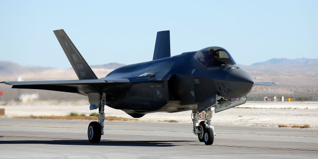 LAS VEGAS, NV - NOVEMBER 11:  An F35 Lighting II taxis on the runway prior to an unveiling of Madame Tussauds all-American hero Captain America at Nellis Air Force Base on November 11, 2016 in Las Vegas, Nevada.  (Photo by Isaac Brekken/Getty Images for Madame Tussauds Las Vegas)