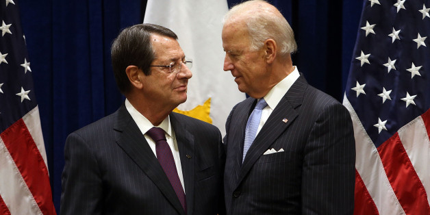 NEW YORK, NY - SEPTEMBER 26:  Vice President Joe Biden meets with President of Cyprus Nicos Anastasiades at the United Nations on September 26, 2014 in New York City. World leaders, activists and protesters have converged on New York City for the annual UN General Assembly that brings together global leaders for a week of meetings and conferences.  (Photo by Spencer Platt/Getty Images)