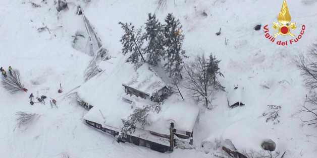 An aerial view shows Hotel Rigopiano in Farindola, central Italy, hit by an avalanche, in this January 19, 2017 handout picture provided by Italy's firefighters. Vigili del Fuoco/Handout via REUTERS ATTENTION EDITORS - THIS IMAGE WAS PROVIDED BY A THIRD PARTY. EDITORIAL USE ONLY.          TPX IMAGES OF THE DAY