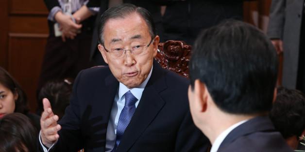 반기문 전 유엔 사무총장이 20일 서울 여의도 국회 의장실을 방문해 정세균 의장과 대화를 나누고 있다.