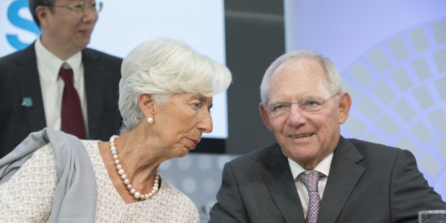 WASHINGTON, DC - OCTOBER 6: In this handout photo provided by the International Monetary Fund, International Monetary Fund Managing Director Christine Lagarde and German Finance Minister Wolfgang Schauble participate in a CNN Debate Seminar on Global Economy Ocotber 6, 2016 in Washington, DC. The IMF/World Bank Annual meetings are being held in Washington this week. (Photo by Stephen Jaffe/IMF via Getty Images)