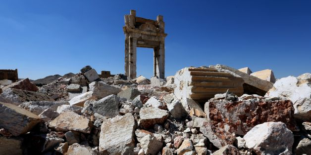 A picture shows on March 31, 2016 the remains of Temple of Bel's 'Cella', which was blown up by jihadists of the Islamic State (IS) group in August 2015, in the ancient Syrian city of Palmyra.  The main building of the ancient temple was destroyed by IS as well as a row of columns in its immediate vicinity. Syrian troops backed by Russian forces recaptured Palmyra on March 27, 2016, after a fierce offencive to rescue the city from jihadists who view the UNESCO-listed site's magnificent ruins as