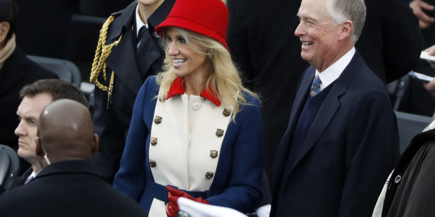 Counselor to the President Kellyanne Conway talks with former vice president Dan Quayle prior to the inauguration of Donald Trump as the 45th president of the United States at the U.S. Capitol in Washington, U.S., January 20, 2017.  REUTERS/Kevin Lamarque