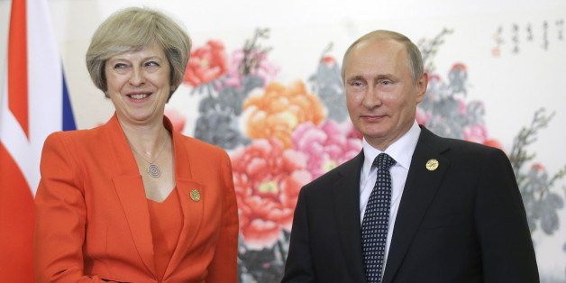HANGZHOU, CHINA - SEPTEMBER 4, 2016: Russia's President Vladimir Putin (R) shakes hands with British Prime Minister Theresa May during a meeting. Mikhail Metzel/TASS (Photo by Mikhail Metzel\TASS via Getty Images)
