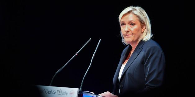 Marine LePen delivers a speech during a meeting called 'Assises du Produire en France'  , Reims , 09/09/2016 (Photo by Francois Pauletto /Corbis via Getty Images)
