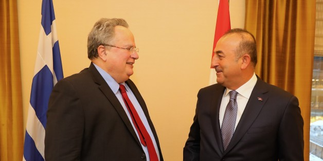NEW YORK, UNITED STATES - JANUARY 6: Turkish Foreign Minister Mevlut Cavusoglu (R) meets Greek Foreign Minister Nikos Kotzias (L) in New York, USA on January 6, 2017. (Photo by Turkish Foreign Ministry / Ahmet Gumus/Anadolu Agency/Getty Images)