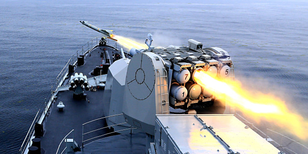 QINGDAO, CHINA - JULY 02: (CHINA OUT) CNS Harbin DDG-112 frigate fires a missile during live-fire drill on Yellow Sea on July 2, 2015 in Qingdao, Shandong Province of China. Naval vessels and soldiers mainly from China people's Liberation Army Navy North Sea Fleet and part of soldiers of China people's Liberation Army Navy East Sea Fleet, the Second Artillery Force of the PLA, Chinese PLA Shenyang Military Region and Chinese PLA Jinan Military Region attended the live-fire drill on Yellow Sea on Thursday. (Photo by VCG/VCG via Getty Images)