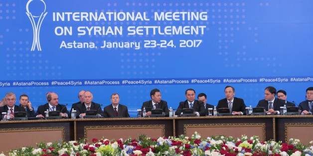 ASTANA, KAZAKHSTAN - JANUARY 23: Kazakhstan's Foreign Minister Kairat Abdrakhmanov (3rd R) takes part in the first session of Syria peace talks in Astana, Kazakhstan on January 23, 2017. (Photo by Aliia Raimbekova/Anadolu Agency/Getty Images)