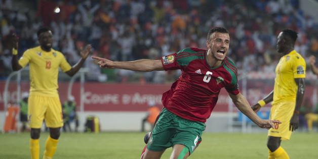 Ghanem Saiss célébrant son but face au Togo le 20 janvier 2017