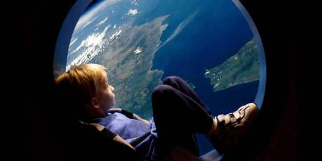 Little boy in a porthole,spaceship porthole, viewing earth,blonde boy,blue planet,conservation,window to space, imagination, wishes, Earth, spaceship, boy,window, wonder