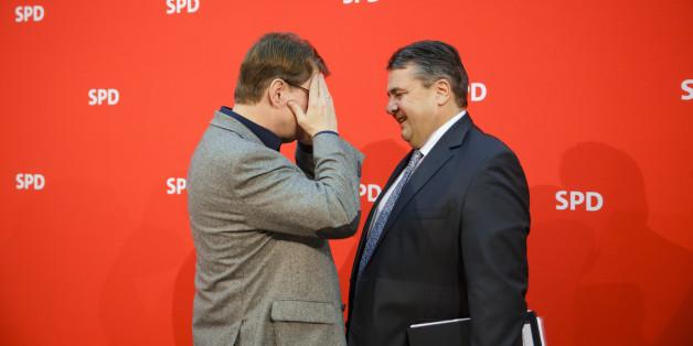 Stegner und Gabriel - der Wirtschaftsminister will nicht der SPD-Kanzlerkandidat werden