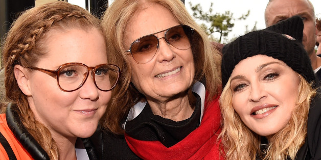 WASHINGTON, DC - JANUARY 21:  (L-R) Amy Schumer, Gloria Steinem and Madonna  attend the rally at the Women's March on Washington on January 21, 2017 in Washington, DC.  (Photo by Kevin Mazur/WireImage)