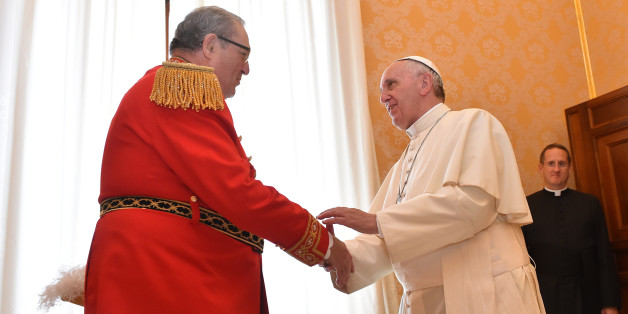VATICAN CITY, VATICAN - JUNE 23: Pope Francis meets Prince and Grand Master of the Sovereign Military Order of Malta Fra' Matthew Festing, on June 23, 2016 in Vatican City, Vatican. (Photo by Vatican Pool/Corbis via Getty Images)