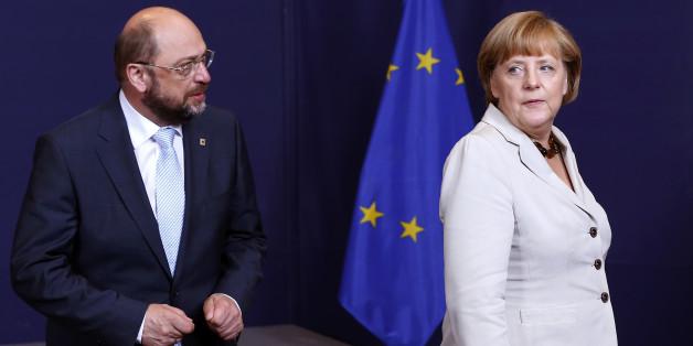 Sitz Kanzlerin Angela Merkel im Nacken: Der SPD-Herausforderer Martin Schulz